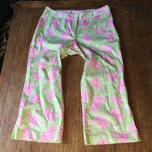 Lilly Pulitzer pink elephant Capri size 8